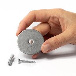 Set di montaggio per fermaporta disco metallico con foro svasato, da avvitare al pavimento o alla parete