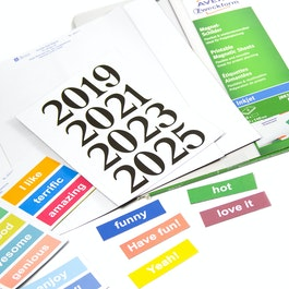 Magnetic labels printable A4 sheets with perforated labels, printable on inkjet printers, for labelling metal shelves, whiteboards, etc.