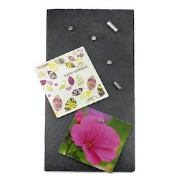 Magneetbord leisteen hoogwaardig en exclusief, 40 x 20 cm, incl. 10 sterke magneten
