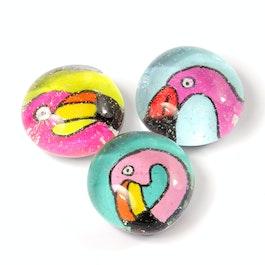 Ufertiere handgemachte Kühlschrankmagnete, 3er-Set, Flamingo