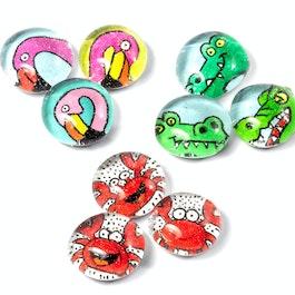 Shore animals handmade fridge magnets, set of 3