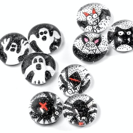 Glass magnets Halloween handmade fridge magnets, set of 3
