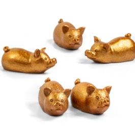 Petit cochon doré aimants décoratifs en forme de cochon, lot de 5