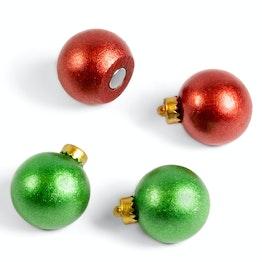 Mini kerstballen decomagneten rond, set van 4