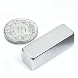 Q-30-10-10-Z Block magnet 30 x 10 x 10 mm, neodymium, N40, zinc-plated