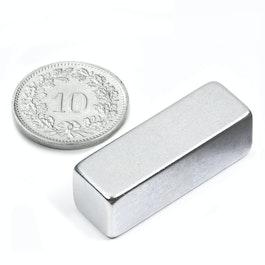 Q-30-10-10-Z Parallelepipedo magnetico 30 x 10 x 10 mm, neodimio, N40, zincato