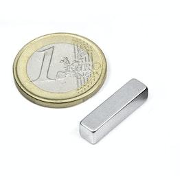 Q-20-05-05-Z Blokmagneet 20 x 5 x 5 mm, houdt ca. 2,5 kg, neodymium, N42, verzinkt