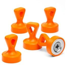 Griffmagnete mit Öse starke Büromagnete Neodym, plastifiziert, orange