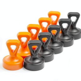 Knob magnets with eyelet holds approx. 3 kg, strong office magnets neodymium, plasticised, in different colours