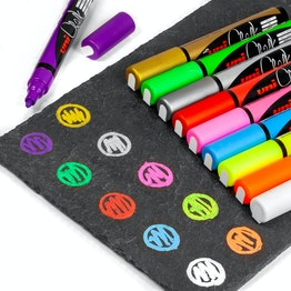 Krijtmarker voor glazen magneetborden en whiteboards, in verschillende kleuren, set van 4