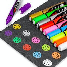 Pennarelli a gesso liquido per lavagne magnetiche in vetro e lavagne bianche, in diversi colori, set da 4