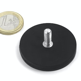 GTNG-43 rubber coated pot magnet with threaded stud, Ø 43 mm, thread M4