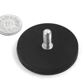 GTNG-43 rubber gecoate potmagneet met draadeinde, Ø 43 mm, schroefdraad M4