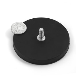 GTNG-66 imán en recipiente de goma con vástago roscado, Ø 66 mm, rosca M8