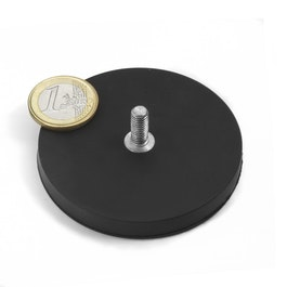 GTNG-66 magnete gommato con base in acciaio con perno filettato, Ø 66 mm, filettatura M8