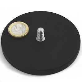 GTNG-88 rubber coated pot magnet with threaded peg, Ø 88 mm, thread M8