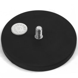 GTNG-88 rubber coated pot magnet with threaded stud, Ø 88 mm, thread M8