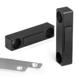 Magnetic fitting narrow for furniture metal, with counterpart