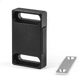 Magnetbeschlag breit für Möbel aus Metall, mit Gegenplatte, Haftfläche seitlich