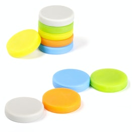 Disc magnets with silicone coating adhesive on both sides, set of 10, Ø 18 mm, assorted colours