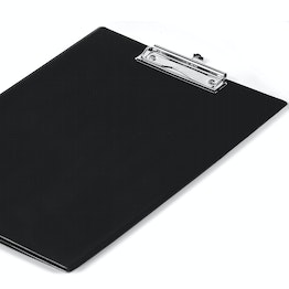 Clipboard black with foil coating and sheet protector, A4 format, not magnetic!