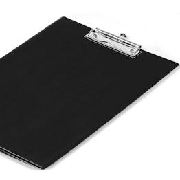 Portapapeles negro revestido con una lámina y compartimento transparente, formato A4, ¡no es magnético!