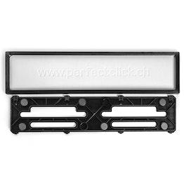 Marco para matrícula para formato apaisado trasero pieza de repuesto para soporte de matrículas, de plástico, negro