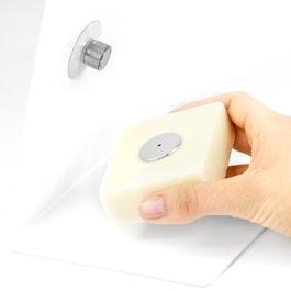 Seifenhalter magnetisch mit Saugnapf und Edelstahlplättchen, zur Befestigung im Waschbecken