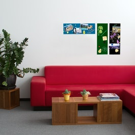 Magnetic glass board rectangular 20 x 60 cm, in different colours