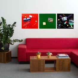 Magnetic glass board square 45 x 50 cm, in different colours