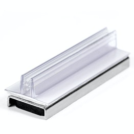 Gripper sign holder magnetic with vertical, upward pointing gripper, made of plastic