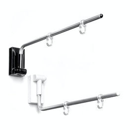 Magnetic banner hanger, angled with two plastic hooks, with push button 180° rotatable