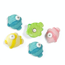 Blowfish deco magnets in the shape of fish, set of 5