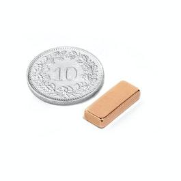 SALE-125 Parallélépipède magnétique 15 x 6 x 3 mm, néodyme, N40, cuivré