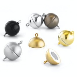 Jewellery clasp magnetic round large for necklaces / bracelets, Ø 15 mm