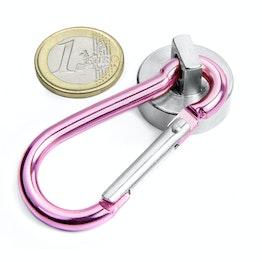 KTN-25P Pot magnet with pink carabiner Ø 25 mm, holds approx. 25 kg, length of carabiner 60 mm