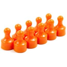 Magneetpins 'Player' prikbordmagneten in de vorm van een speelfiguur, Ø 12,5 mm, set van 10, oranje