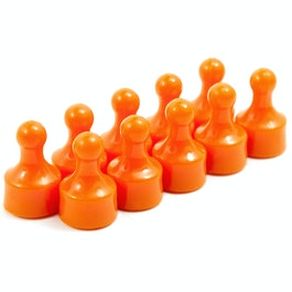 Magnetic pins 'Players' bulletin board magnets in the shape of a pawn in a game, set of 10, orange