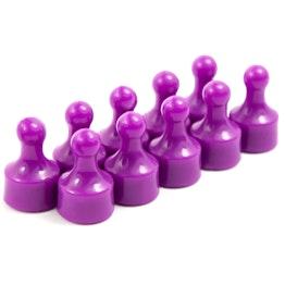 """Magneetpins """"Player"""" prikbordmagneten in de vorm van een speelfiguur, Ø 12,5 mm, set van 10, paars"""