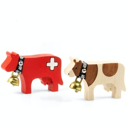 Trauffer houten koeien magnetisch handgemaakte koelkastmagneten, 2 verschillende koeien verkrijgbaar