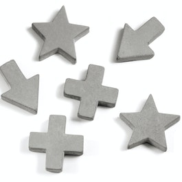Betonmagneten in drie verschillende vormen, set van 4