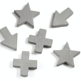 Betonmagneten houdt ca. 400 gr, in drie verschillende vormen, set van 4