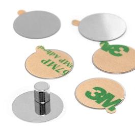 Discos de acero autoadhesivos base adhesiva para imanes, 10 uds.