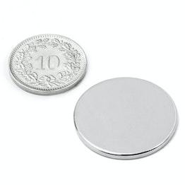 S-25-02-N Disco magnético Ø 25 mm, alto 2 mm, sujeta aprox. 3.1 kg, neodimio, N38, niquelado