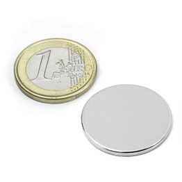 S-25-02-N Disc magnet Ø 25 mm, height 2 mm, neodymium, N38, nickel-plated