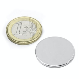 S-25-02-N Disc magnet Ø 25 mm, height 2 mm, holds approx. 3,1 kg, neodymium, N38, nickel-plated