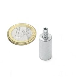 BMN-TS-10 aimant grappin cylindrique Ø 10 mm avec tige filetée, tient env. 2,4 kg, pas de vis M4