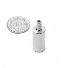 BMN-TS-10 base magnetica con Ø 10 mm e gambo filettato, tiene ca. 2.4 kg, filettatura M4