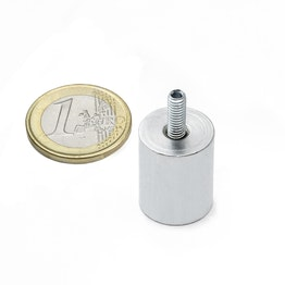 BMN-TS-16 deep pot magnet Ø 16 mm with threaded stud, thread M4