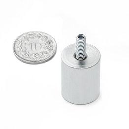 BMN-TS-16 cilindrische potmagneet Ø 10 mm met draadstift, houdt ca. 9 kg, schroefdraad M4
